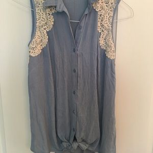 Lacey button up tank